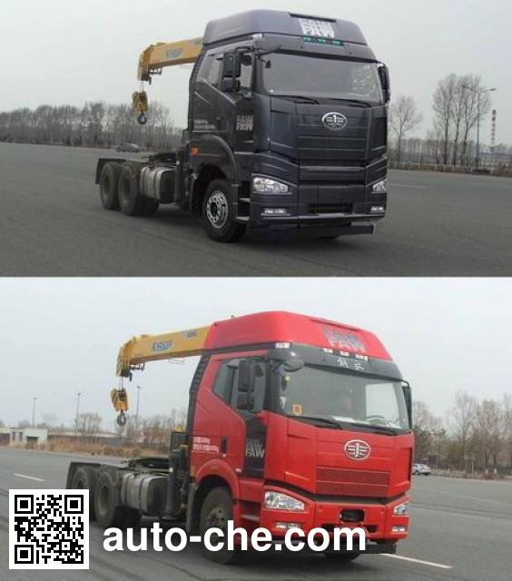 FAW Jiefang CA5250JQQP66K2L1T1A1E4 tractor unit mounted loader crane