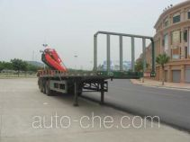Flatbed trailer mounted loader crane
