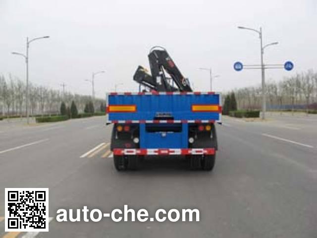 Huanda BJQ9350TSQ flatbed trailer mounted loader crane