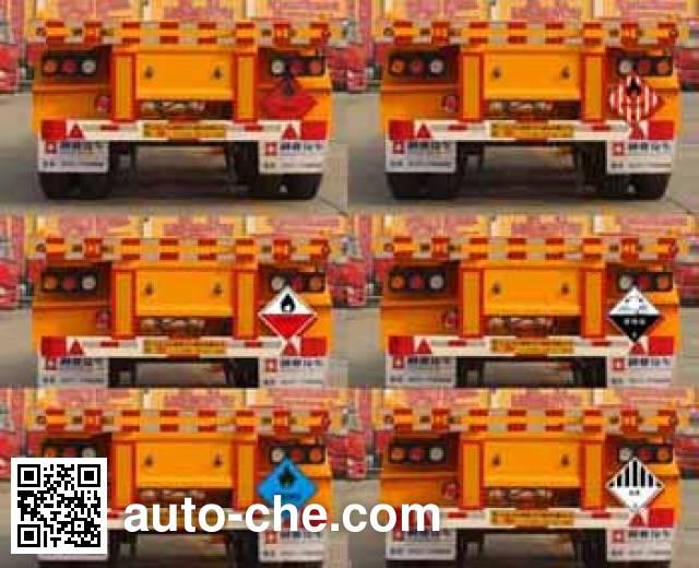 Tongya CTY9400TWY dangerous goods tank container skeletal trailer