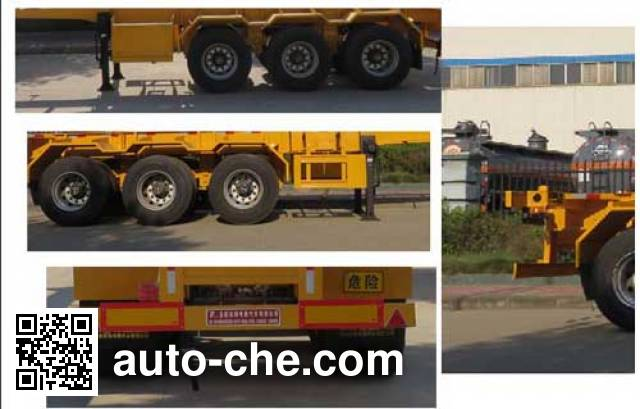 Teyun DTA9403TWY dangerous goods tank container skeletal trailer