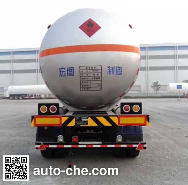 宏图牌HT9400GRQ易燃气体罐式运输半挂车