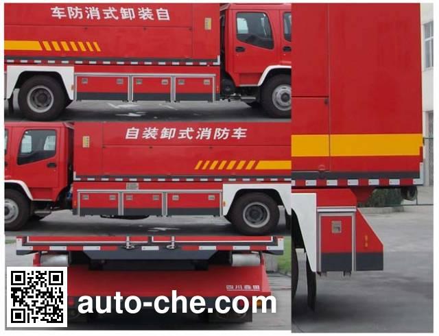 川消牌SXF5160TXFZX70W自装卸式消防车