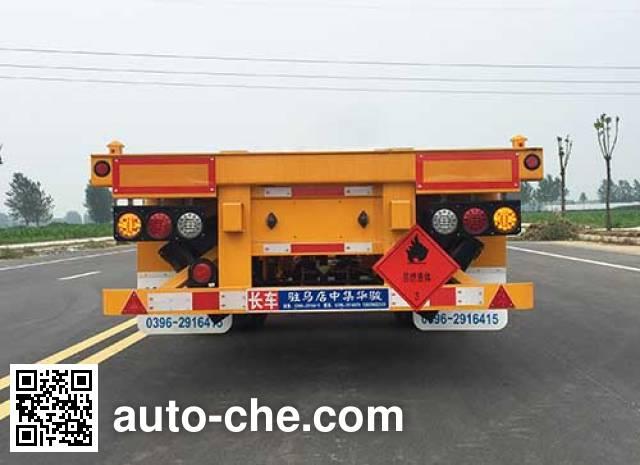 Huajun ZCZ9350TWYHJF dangerous goods tank container skeletal trailer