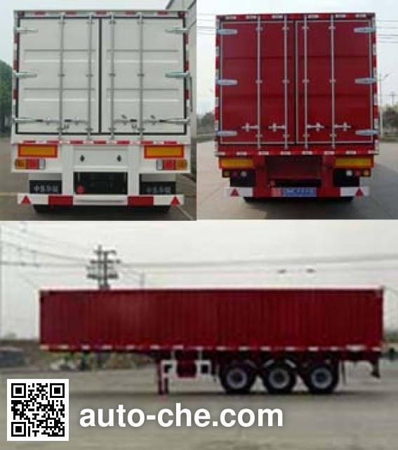 Huajun ZCZ9408XXY box body van trailer