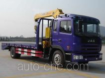 Flatbed truck mounted loader crane