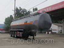 程力威牌CLW9408GFW型腐蚀性物品罐式运输半挂车
