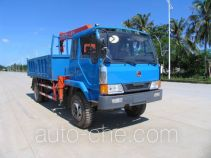 Dump truck mounted loader crane