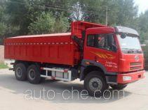 Dump compacted garbage truck