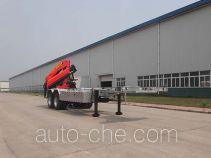 Qingzhuan QDZ9290JSQ flatbed trailer mounted loader crane