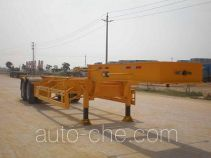 Tank container transport trailer
