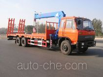 Flatbed wrecker truck mounted loader crane