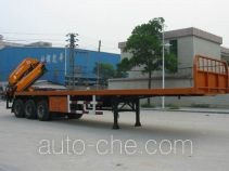 Luzhiyou ZHF9400JSQ flatbed trailer mounted loader crane